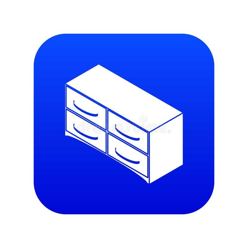 Caixa do vetor azul do ícone das gavetas ilustração stock