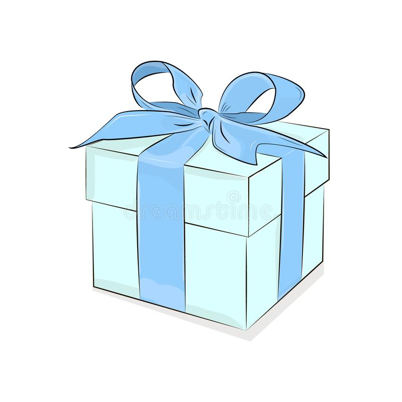 Caixa do vetor com fita Projeto do café da manhã Caixa de presente de turquesa no fundo branco Ilustração atual Amor g ocasional ilustração royalty free
