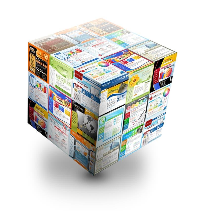 caixa do Web site do Internet 3D no branco