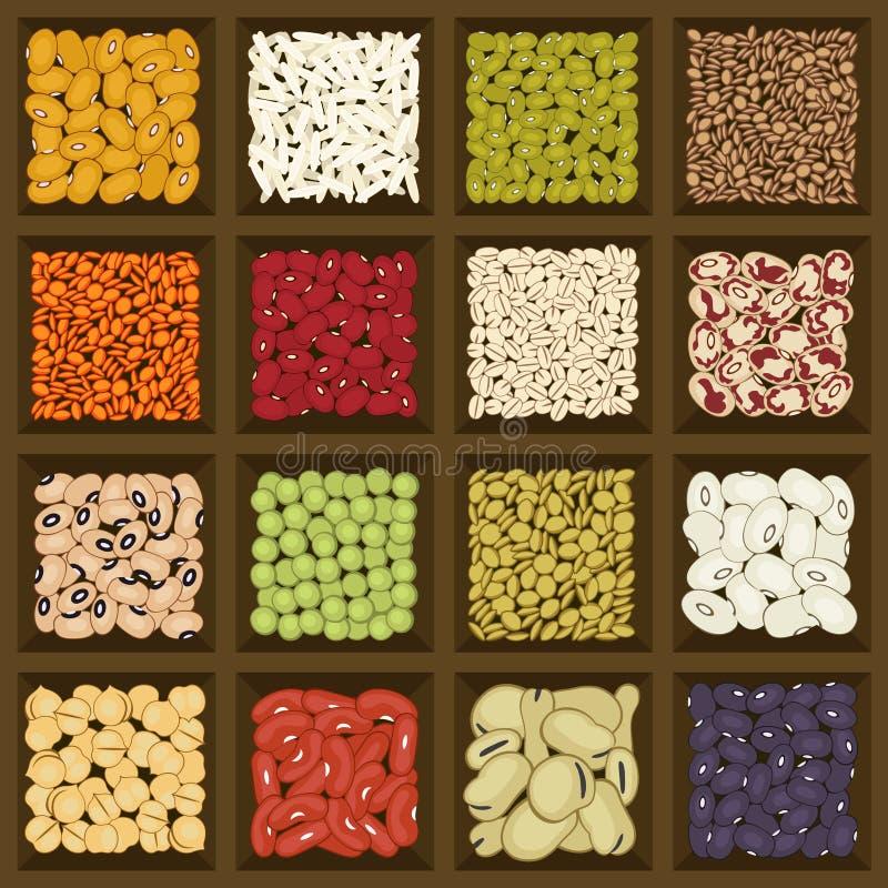 Caixa dos cereais e das leguminosa ilustração stock