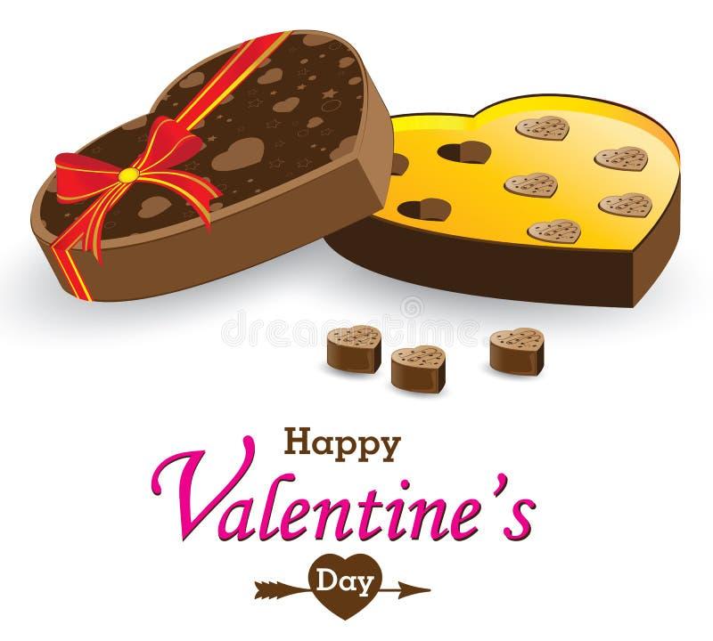 Caixa e caixa de presente do coração isoladas no fundo branco Caixa do chocolate do dia e do coração de Valentim isolada no fundo ilustração stock