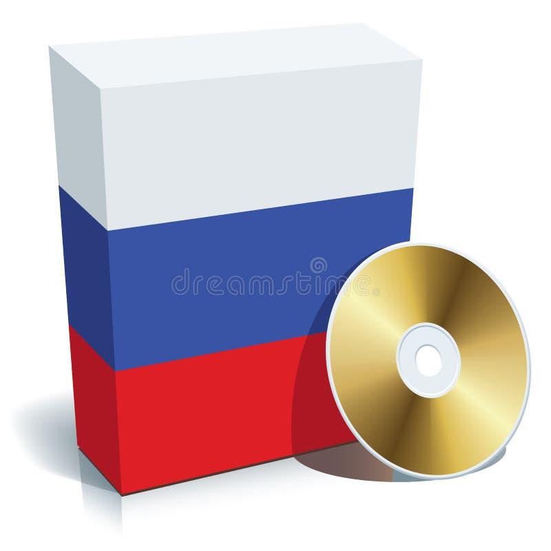Caixa e CD do software do russo ilustração do vetor