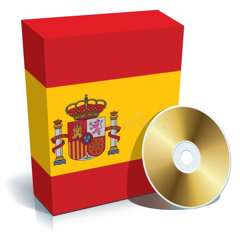 Caixa e CD espanhóis do software ilustração royalty free