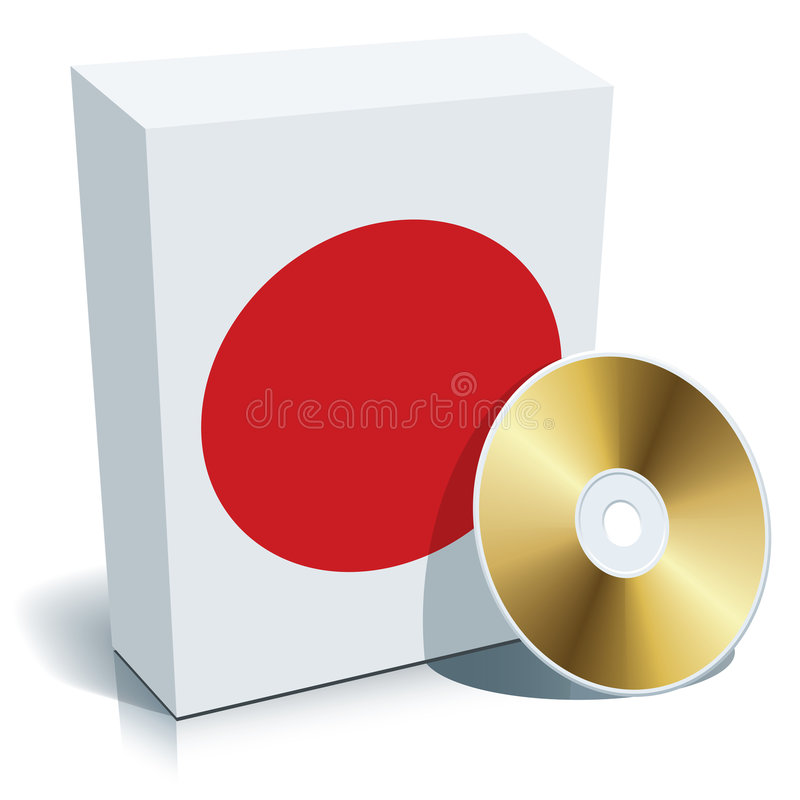 Caixa e CD japoneses do software ilustração royalty free