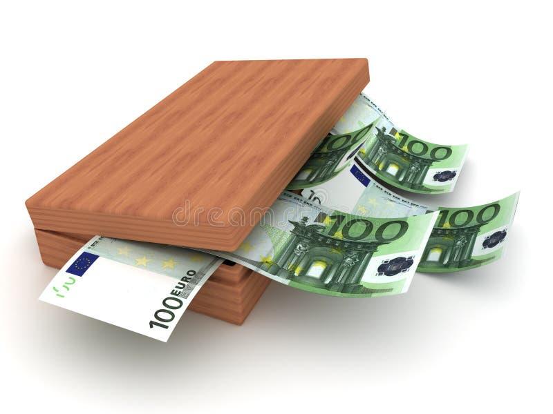 Caixa e Euro da moeda 3d ilustração royalty free