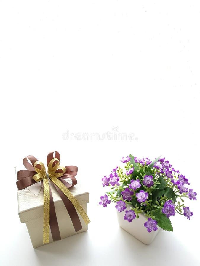 Caixa e flores de presente imagem de stock royalty free
