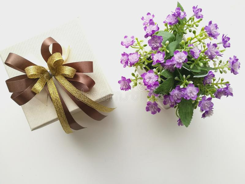 Caixa e flores de presente foto de stock