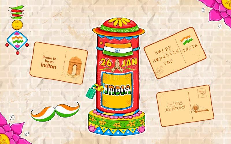 Caixa e letra do cargo do estilo do kitsch da Índia ilustração royalty free