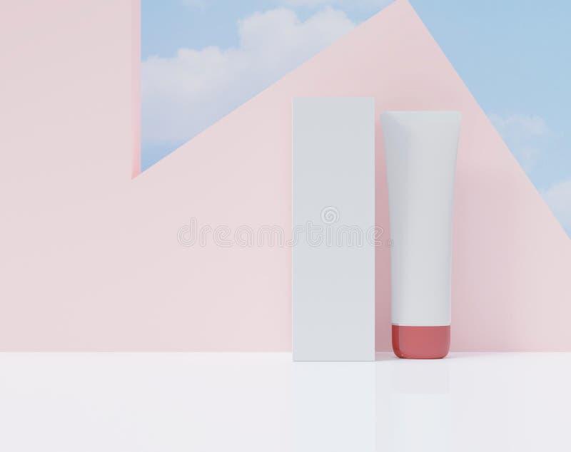 Caixa e tubo em uma cor branca Cartaz cosmético dos anúncios Grupo ascendente trocista para anunciar, rendição 3d ilustração do vetor