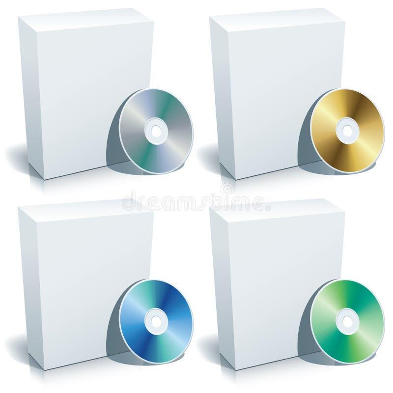 Caixa em branco e DVD, vetor ilustração do vetor