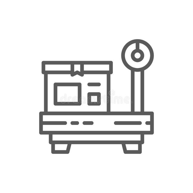 Caixa em escalas, pacote que pesa a linha ícone ilustração royalty free