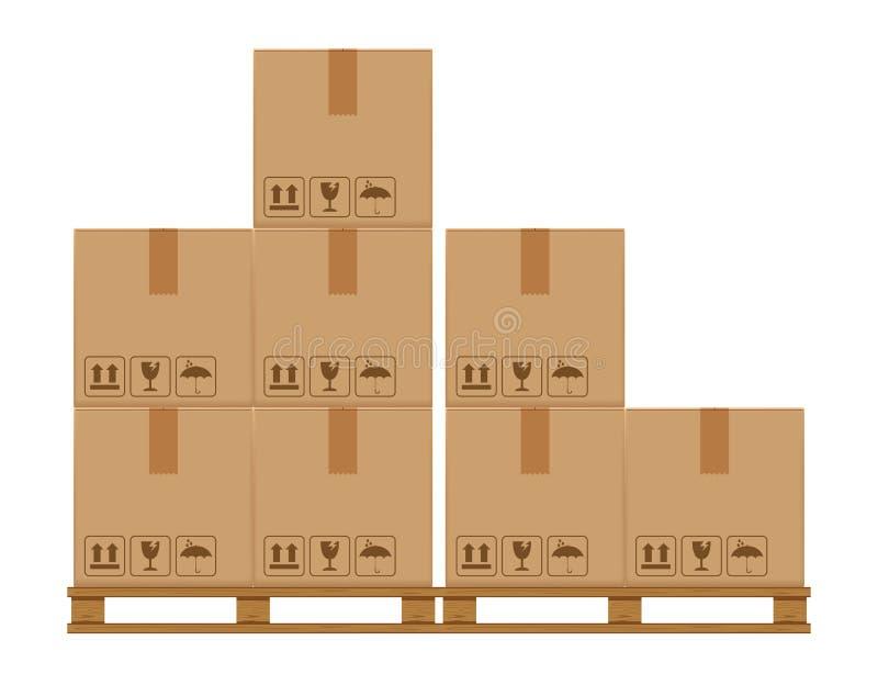 A caixa encaixota oito na pálete arborizada, pálete de madeira com a caixa de cartão no armazenamento do armazém da fábrica, ilustração do vetor