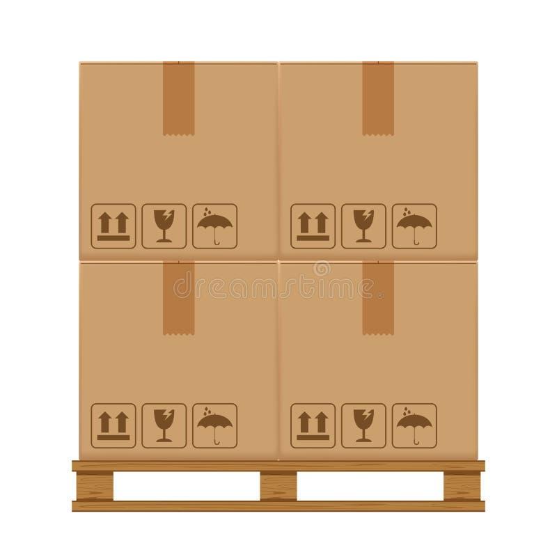 A caixa encaixota quatro na pálete arborizada, pálete de madeira com a caixa de cartão no armazenamento do armazém da fábric ilustração do vetor