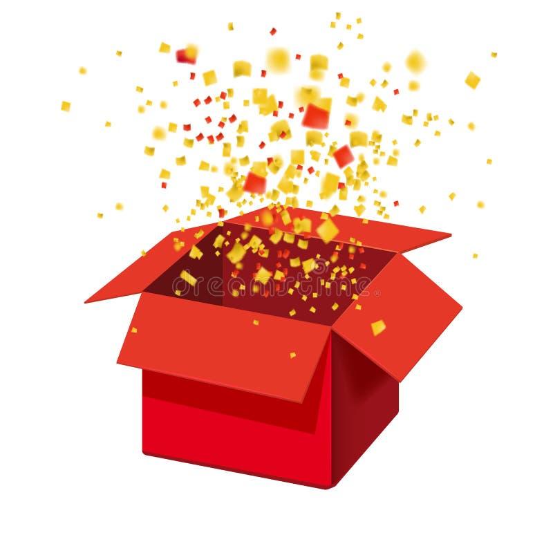 Caixa Exploision, caixa de presente da explosão e confetes vermelhos abertos Entre para ganhar prêmios Vitória, loteria, question ilustração stock