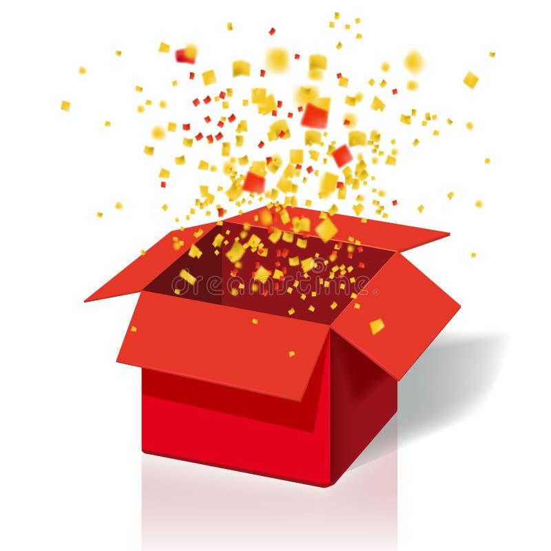Caixa Exploision, caixa de presente da explosão e confetes vermelhos abertos Entre para ganhar prêmios Vitória, loteria, question ilustração do vetor