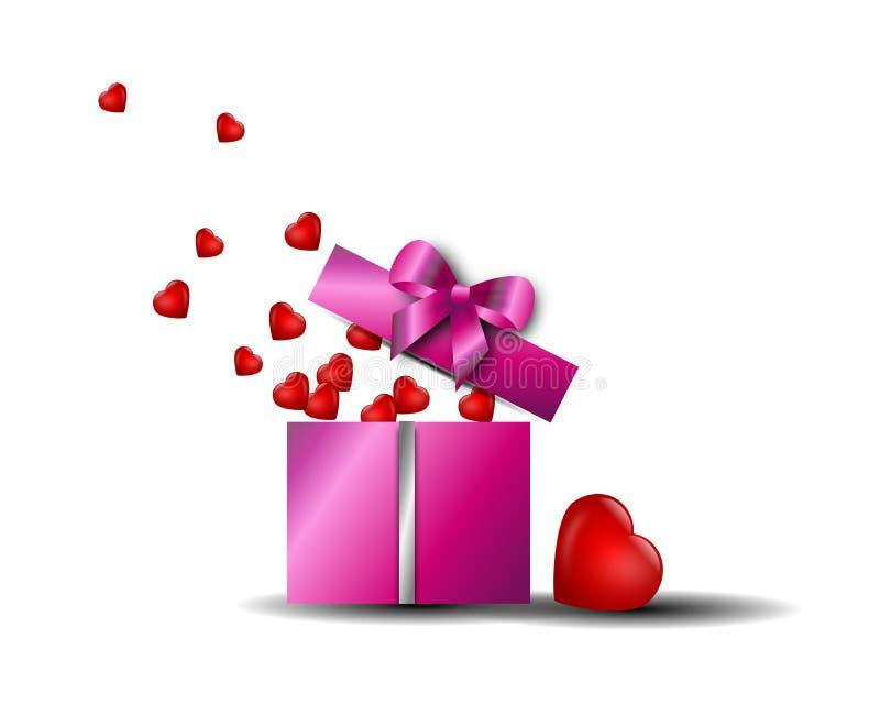 Caixa gifting do Valentim ilustração royalty free