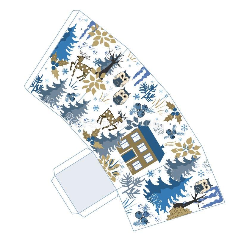Caixa impressionante da pipoca do Natal do inverno no estilo da floresta do inverno da garatuja Favor, caixa de presente Apenas a ilustração stock