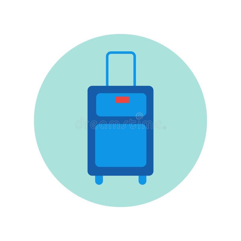Caixa isolada ícone da bagagem do curso da mala de viagem ilustração do vetor