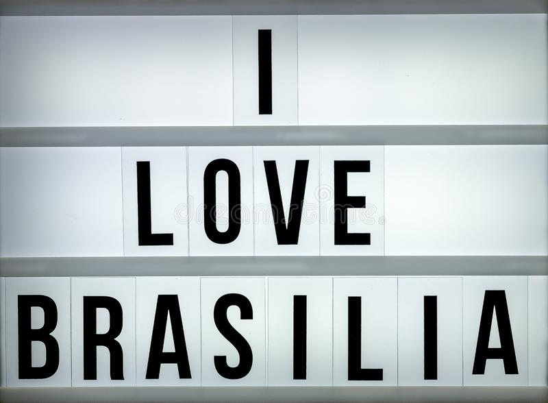 Caixa leve eu amo Brasília fotografia de stock royalty free
