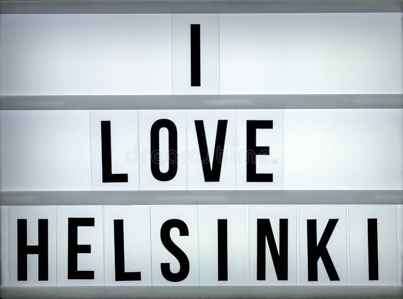 Caixa leve eu amo Helsínquia imagem de stock
