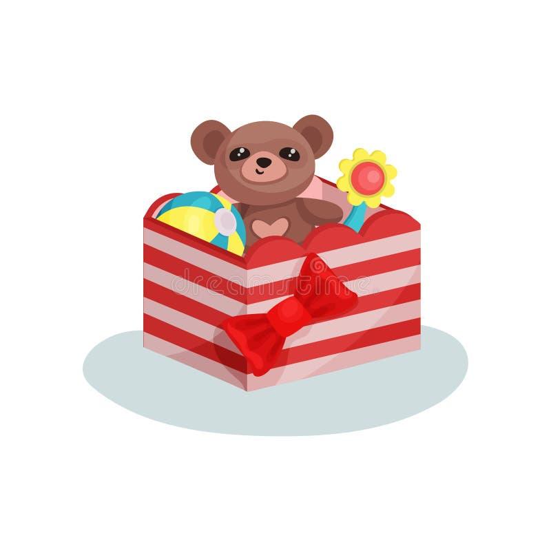 A caixa listrada com a curva vermelha completa das crianças brinca Urso de peluche bonito, bola inflável e flor Ícone liso do vet ilustração stock