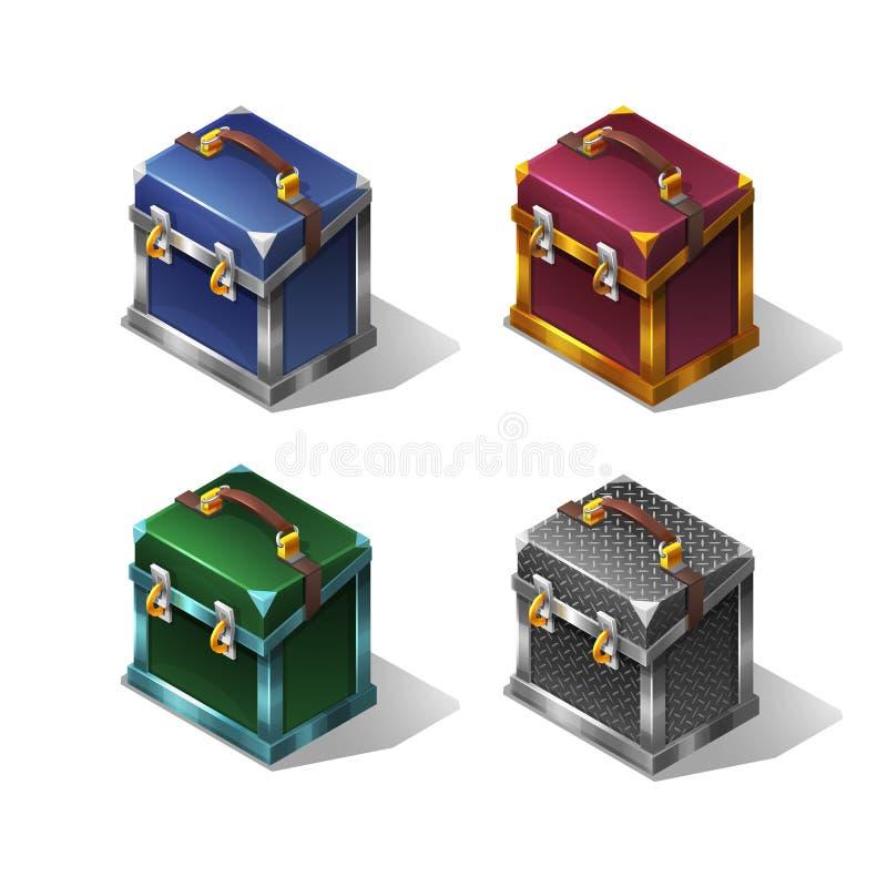 Caixa metálica isométrica colorida dos desenhos animados ilustração royalty free