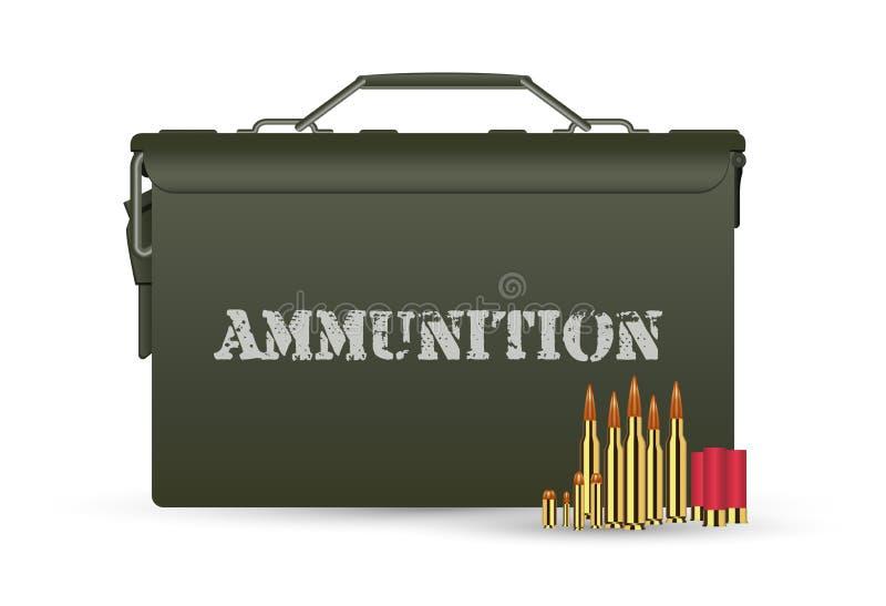 Caixa militar verde da munição com algumas balas ilustração royalty free