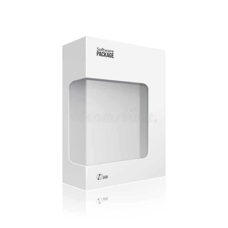 Caixa moderna branca do pacote do produto de software com a janela para o disco EPS10 de DVD ou de CD ilustração stock