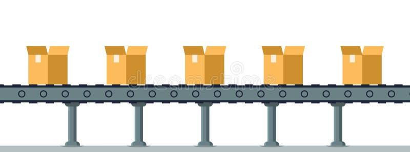 Caixa na linha de embalagem mecânica automática do transporte ilustração stock