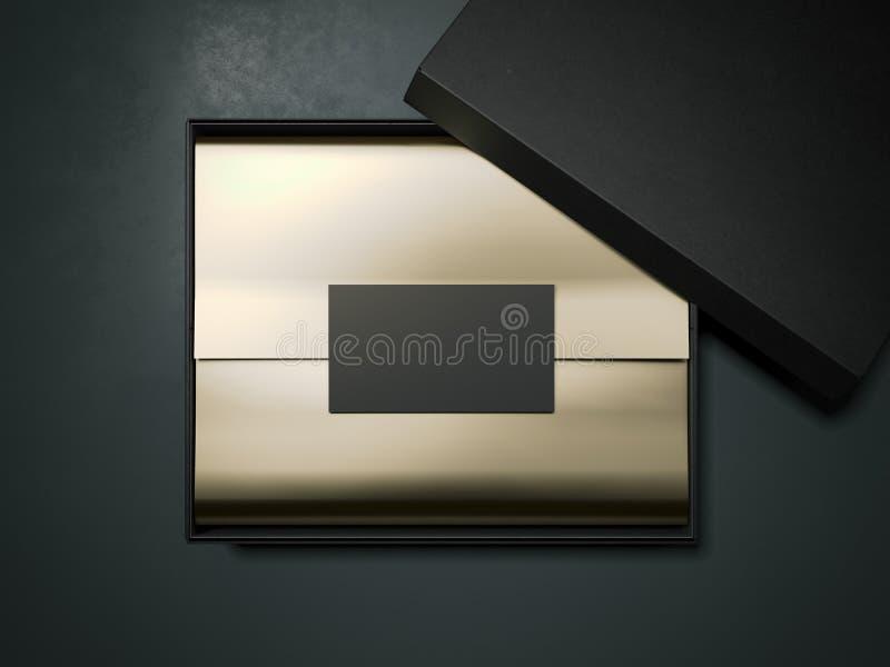 Caixa negra com papel e cartão de envolvimento do ouro rendição 3d ilustração do vetor