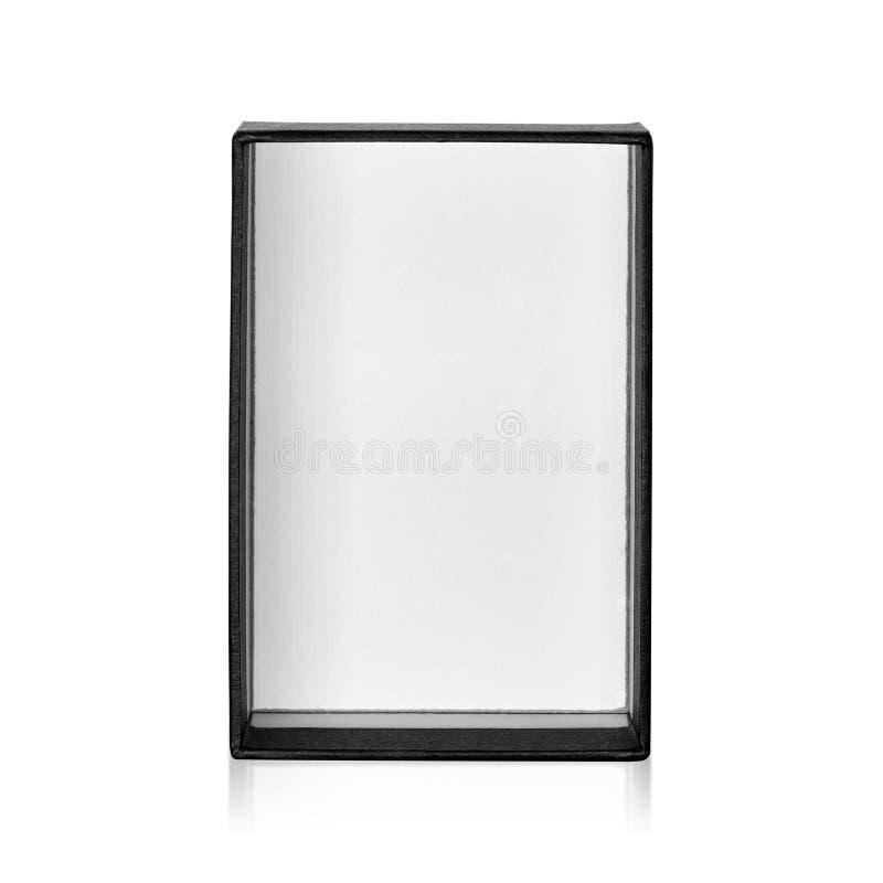 Caixa negra isolada no fundo branco Pacote escuro do produto para seu projeto Objeto dos trajetos de grampeamento Forma do ret?ng ilustração royalty free