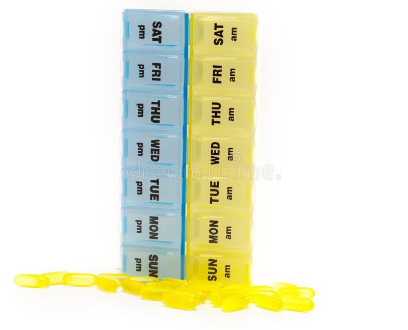 Caixa para o armazenamento das drogas, com inscrição em dias da semana imagem de stock royalty free