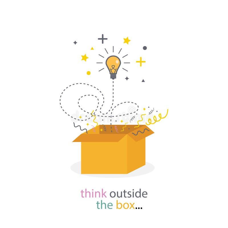 A caixa pensa a parte externa Linha conceito da ampola Ideia da faculdade criadora Pense a boa ideia - O arquivo do vetor ilustração stock