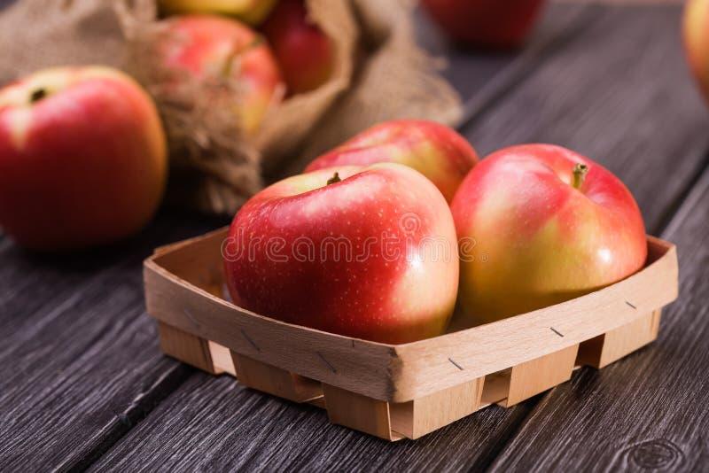 Caixa pequena com maçãs fotos de stock royalty free