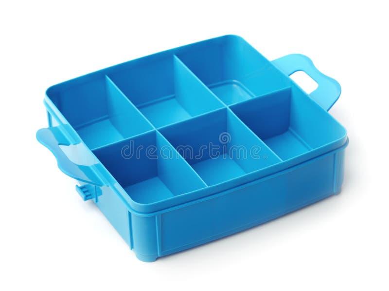 Caixa plástica azul do organizador foto de stock
