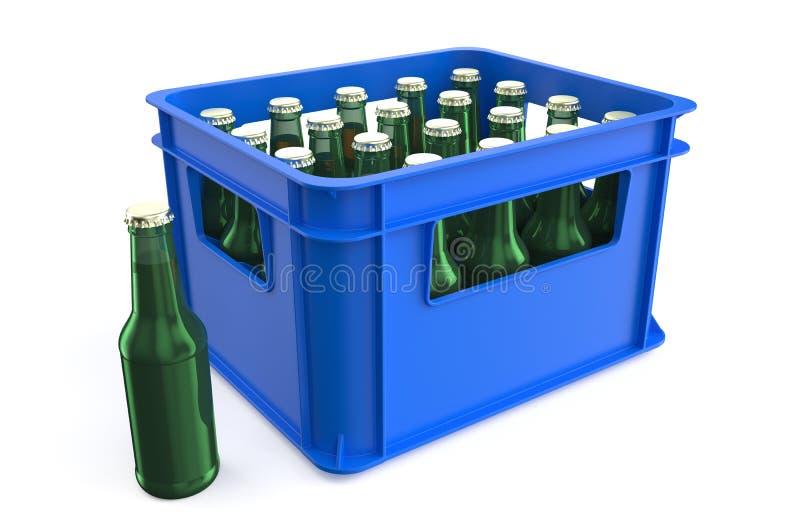 Caixa plástica com garrafas ilustração do vetor