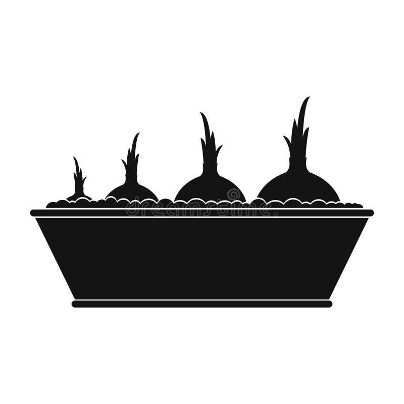 Caixa plantada com ícone simples do preto das cebolas ilustração do vetor