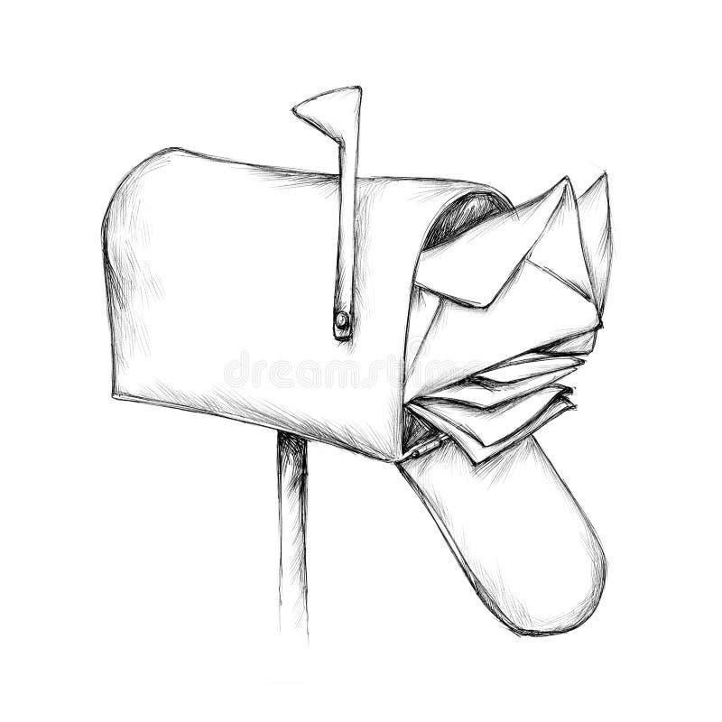 Caixa postal abarrotado com alguns envelopes ilustração royalty free