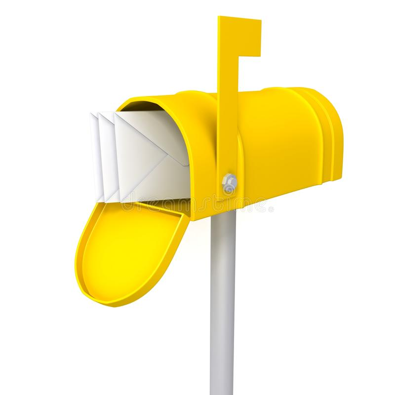 Caixa postal amarela com ilustração dos envelopes 3d ilustração stock