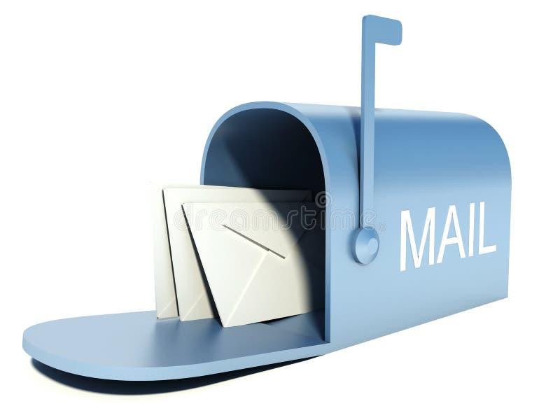 Caixa postal azul com os correios isolados no branco ilustração royalty free