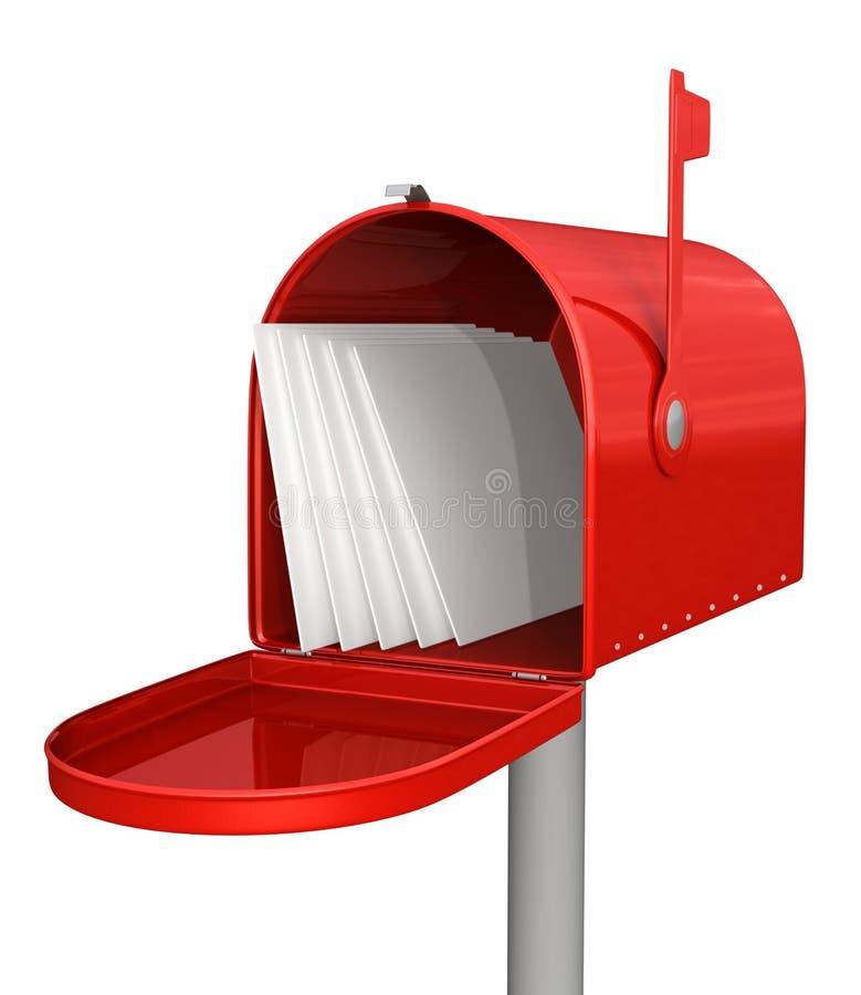 Caixa postal clássica vermelha com correio ilustração royalty free