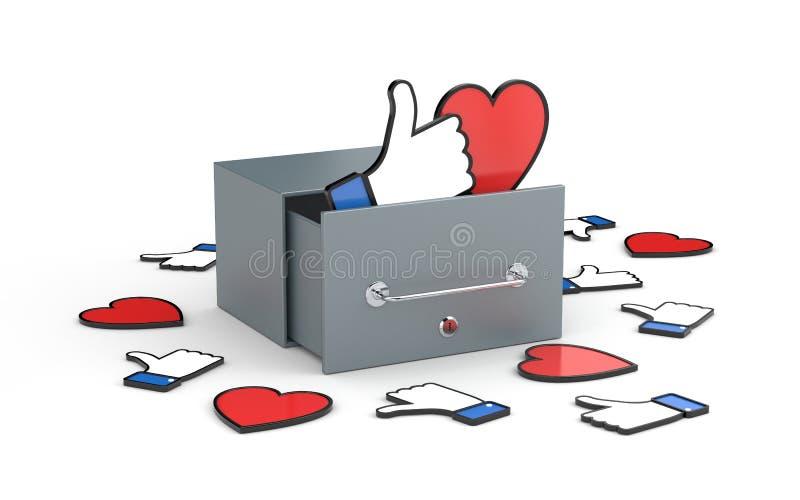 Caixa postal com coração e polegar acima dos símbolos - conceitos sociais das redes Metáfora social das redes ilustração do vetor