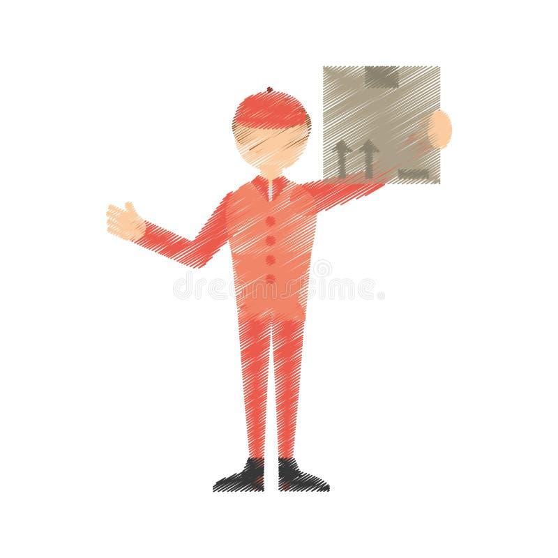 caixa postal do cargo do homem do desenho ilustração stock