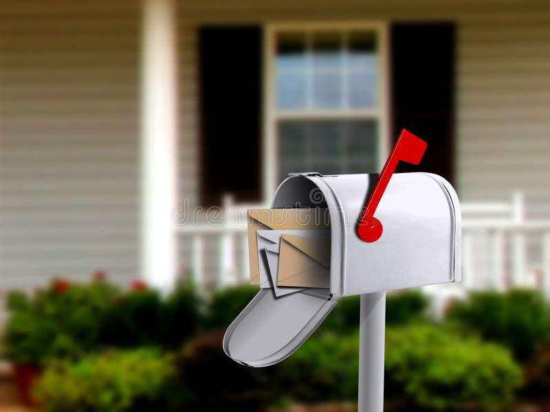 Caixa postal na frente de uma casa fotos de stock royalty free