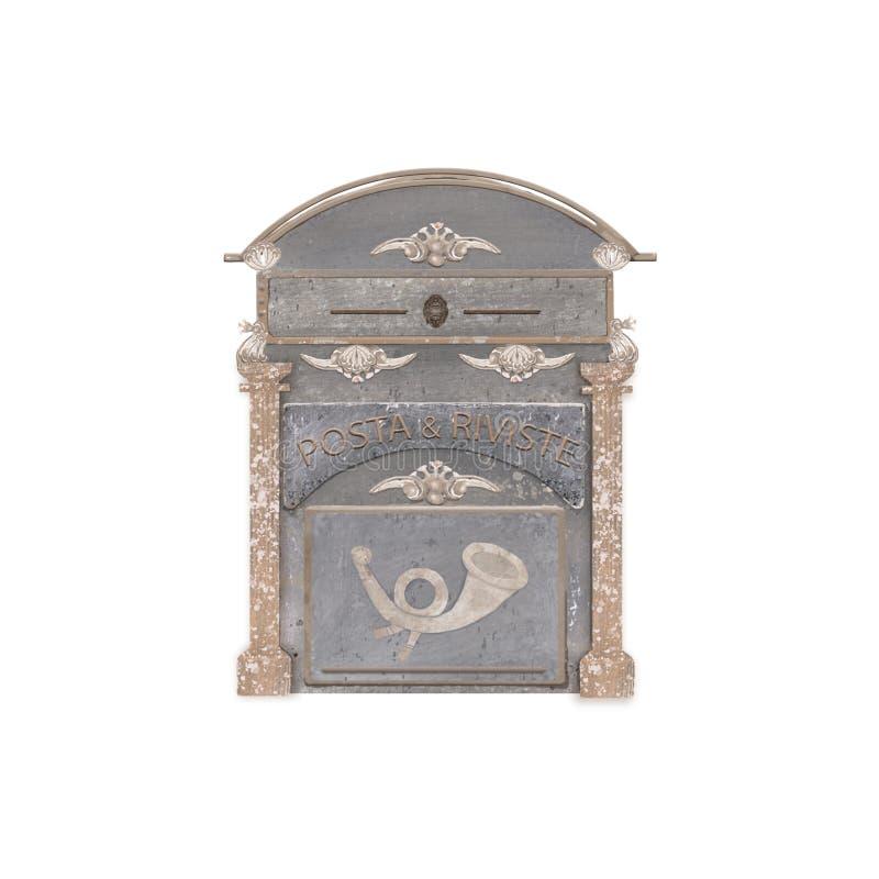 Caixa postal velha do metal do vintage na parede branca da casa Escova retro da aquarela do estilo do cargo de Itália no fundo br ilustração stock