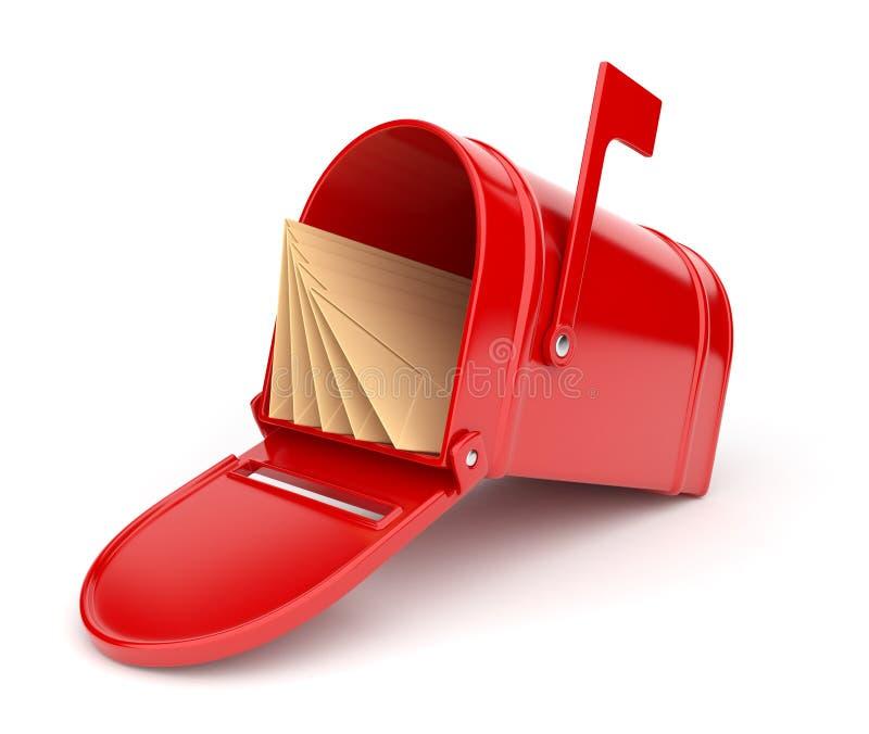Caixa postal vermelha com letras. ilustração 3D ilustração stock
