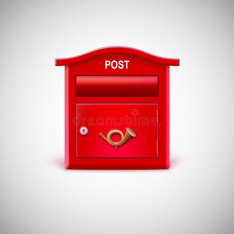 Caixa postal vermelha com o chifre postal ilustração stock