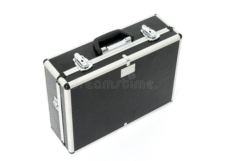 Caixa preta com travas do metal fotografia de stock