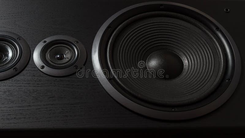Caixa preta de alta fidelidade do orador alto no fim acima Equipamento audio profissional imagens de stock royalty free