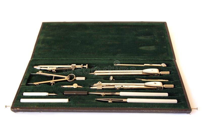 Caixa profissional de instrumentos de desenho imagem de stock royalty free
